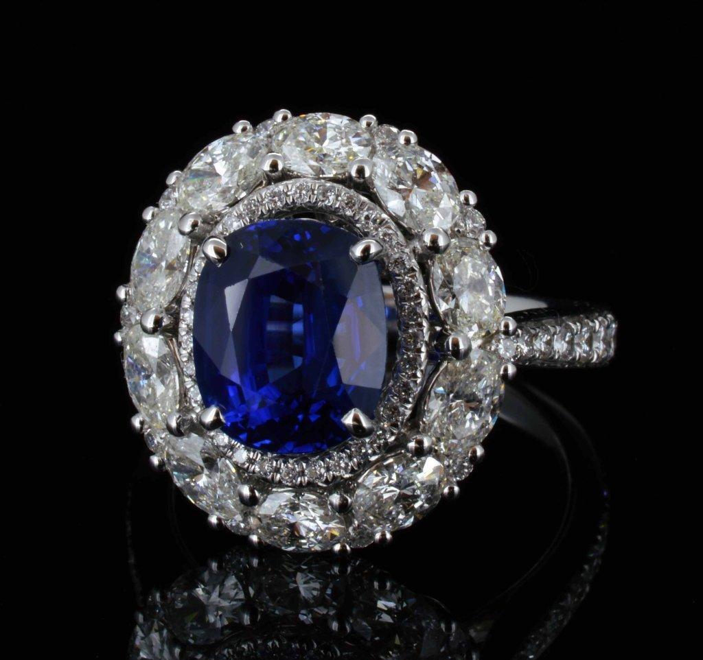 18KT Gold, 1.61ct Sapphire & 0.49ct Diamond Ring
