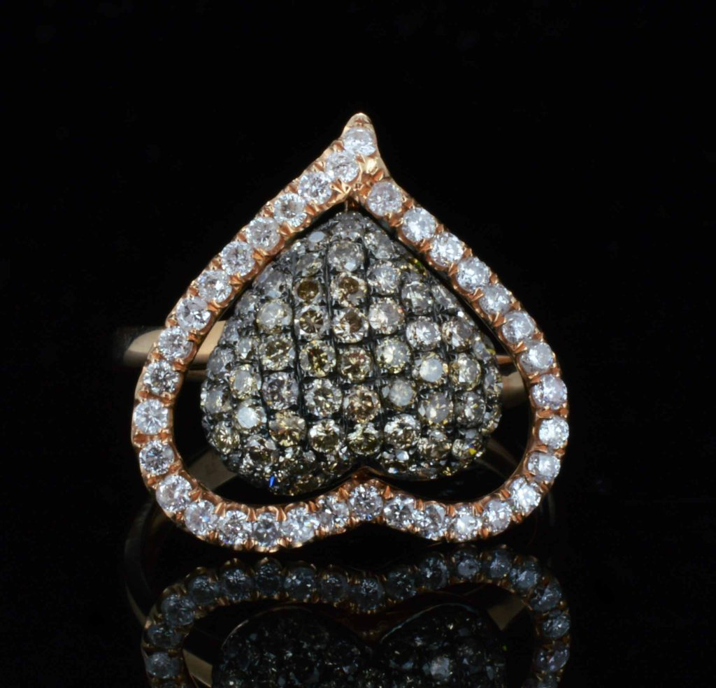 18KT Gold, 1.43ct Brown/White Cluster Diamond Ring