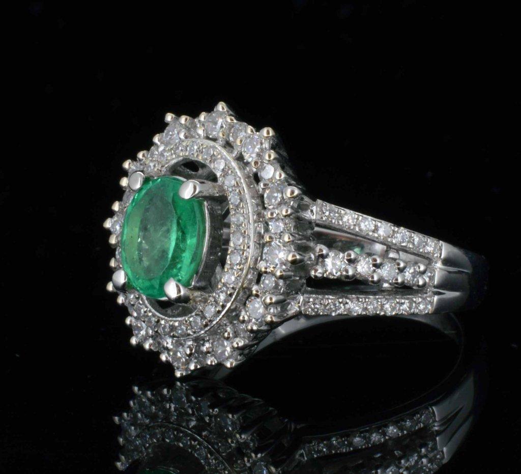 14KT Gold, 0.95ct Emerald & 0.82ct Diamond Ring