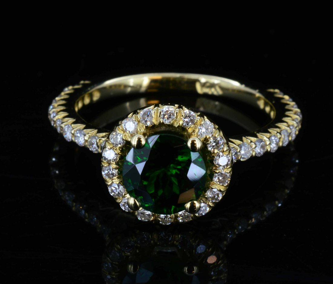14KT Gold, 1.22ct Tzsavorite & 0.48ct Diamond Ring