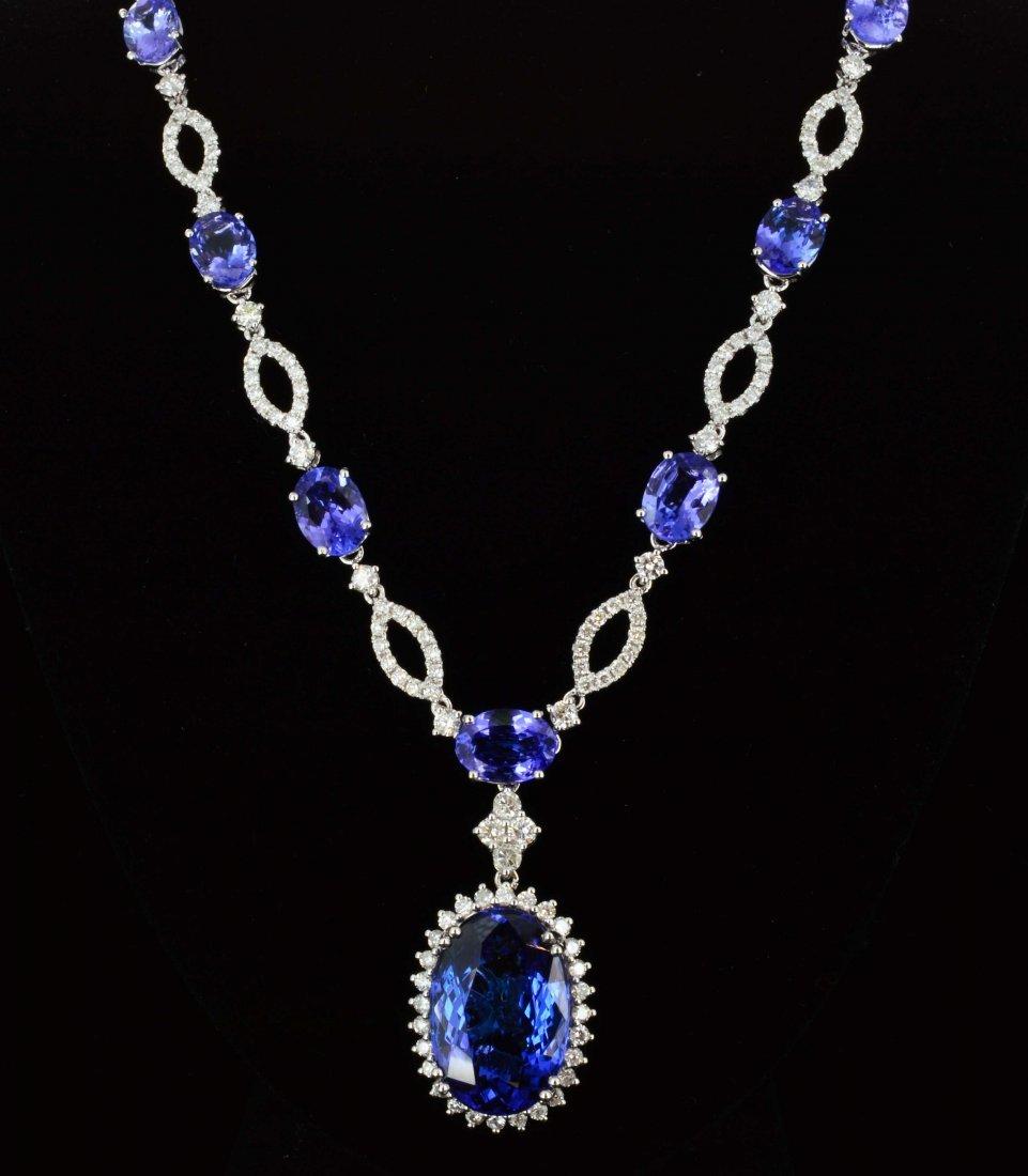 18K Gold, 21.72CT Tanzanite & 2.45CT Diamond Necklace