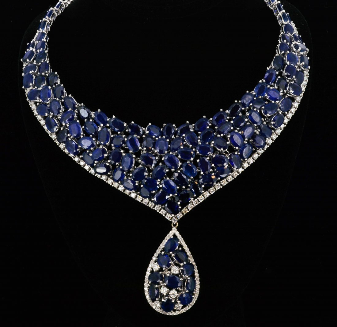 18K Gold, 65CT Sapphire & 3.28CT Diamond Necklce