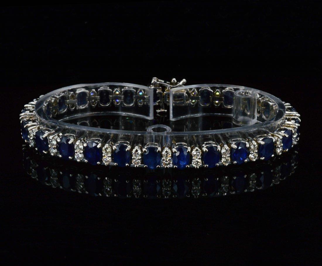 14K Gold, 18.27CT Sapphire & 2.40CT Diamond Bracelet