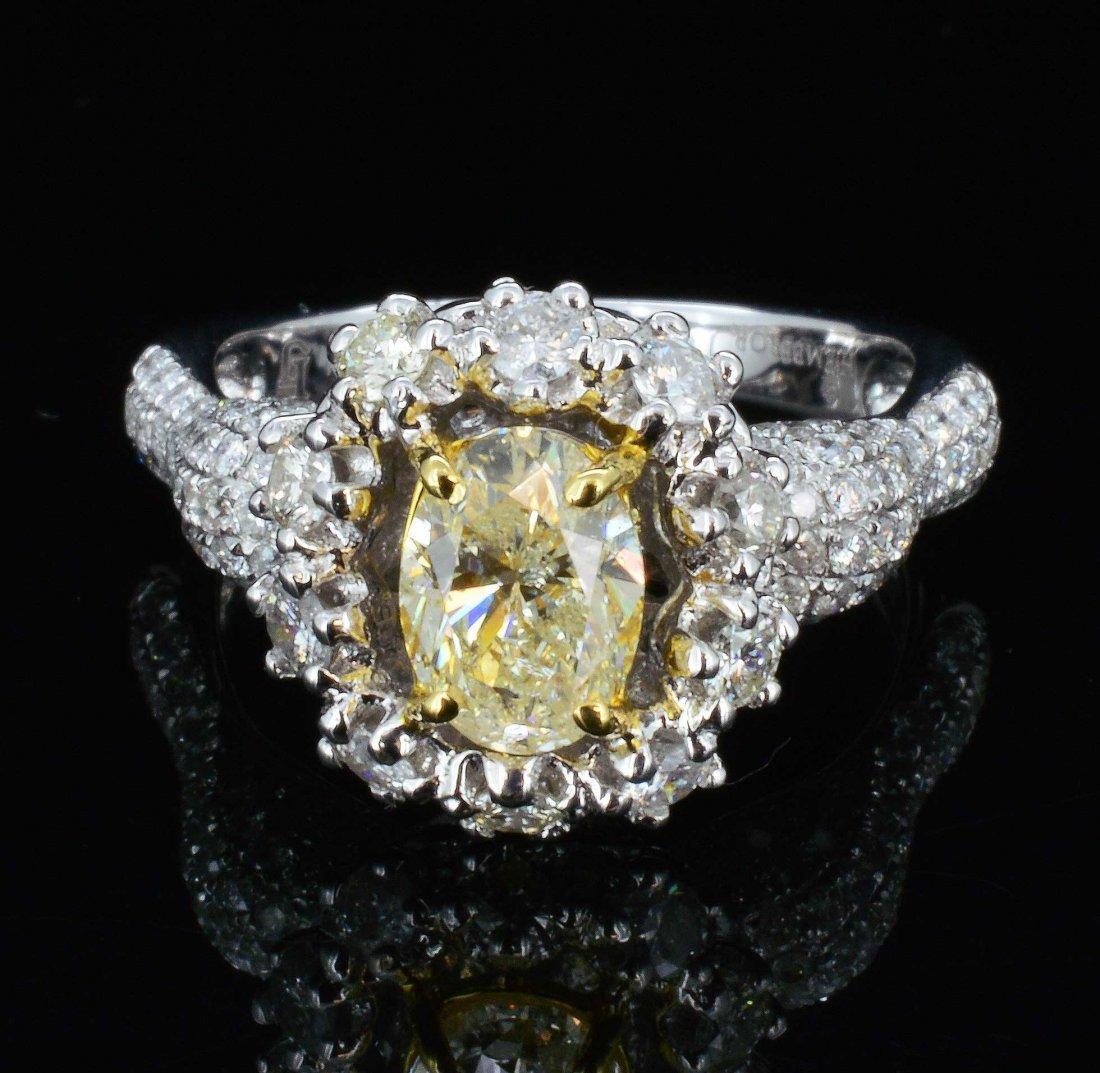 18K Gold, 2.38ct (1.05ct) Fancy Yellow  Diamond Ring