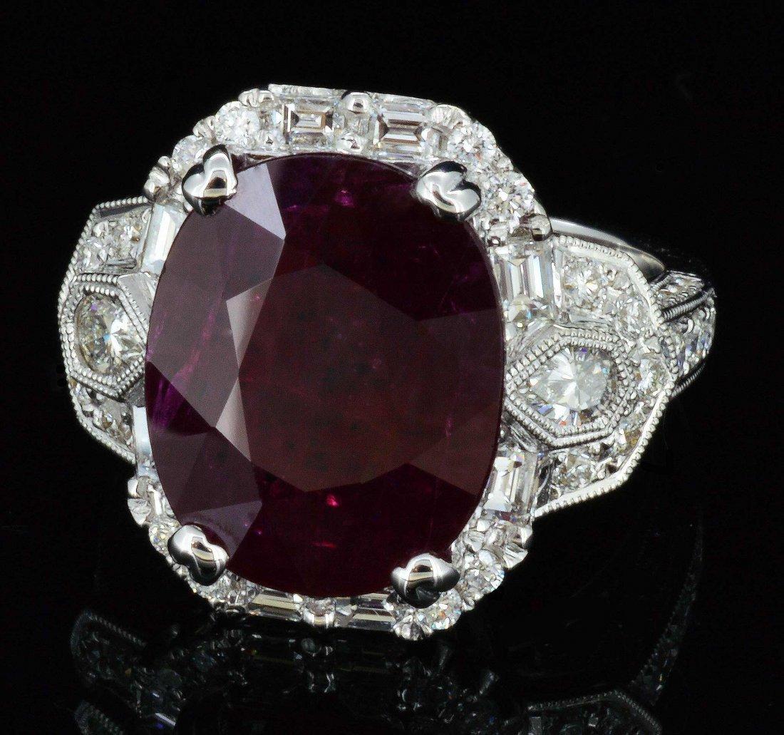 18K Gold, 7.80CT Ruby & 1.56CT Diamond Ring