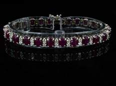 14K Gold 1650CT Ruby  240CT Diamond Bracelet