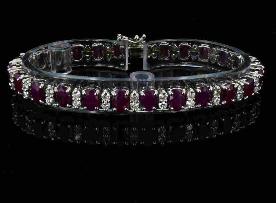 14K Gold, 16.50CT Ruby & 2.40CT Diamond Bracelet