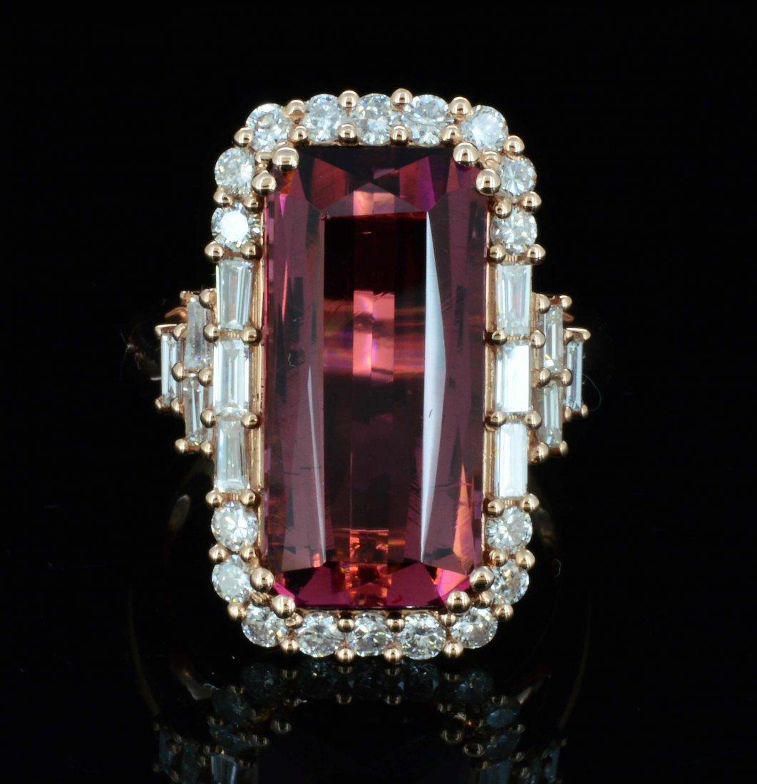 14K Gold, 7.98CT Natural Tourmaline & 1.16CT Diamond