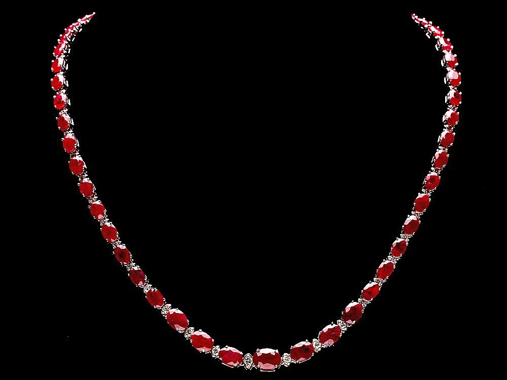 14k Gold 37.00ct Ruby 1.45ct Diamond Necklace