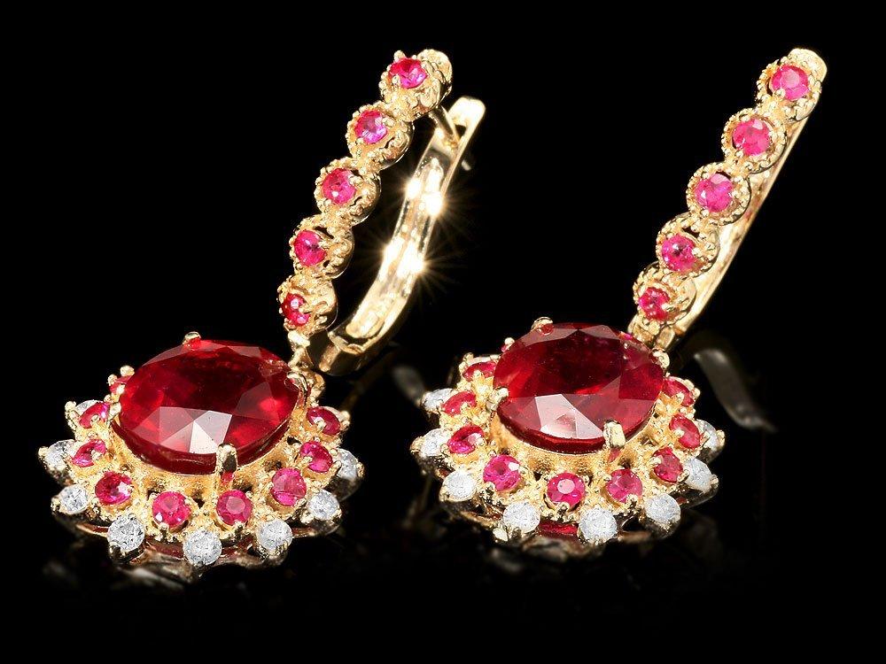 14k Gold 8.2ct Ruby 0.65ct Diamond Earrings - 2