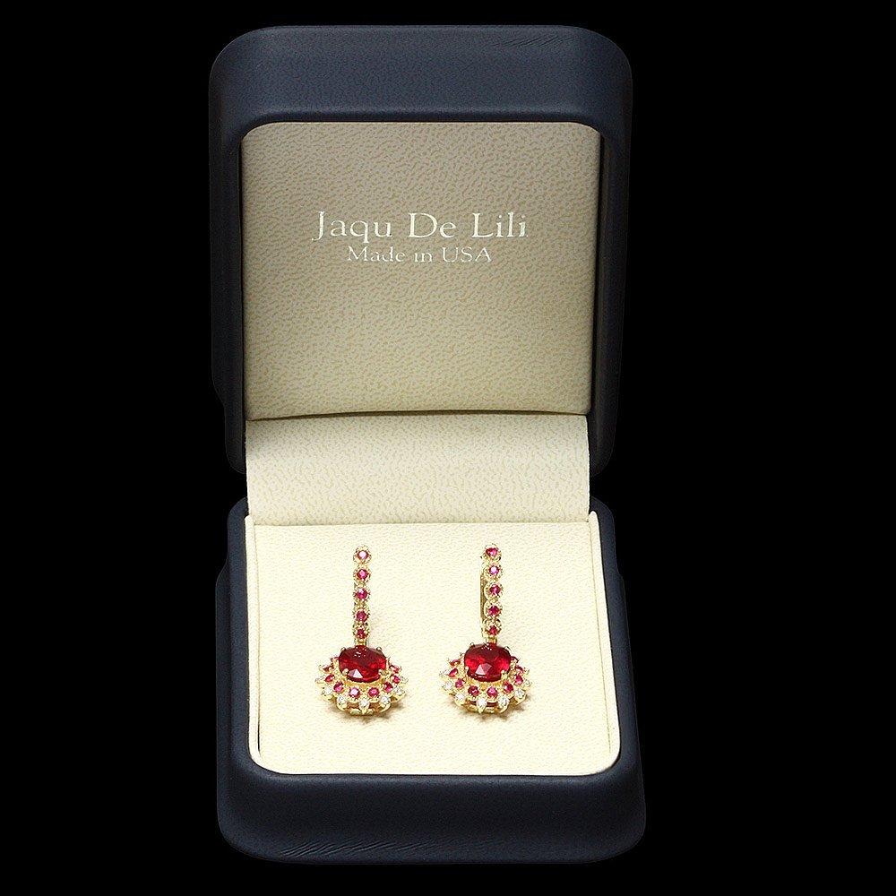 14k Gold 8.2ct Ruby 0.65ct Diamond Earrings - 3