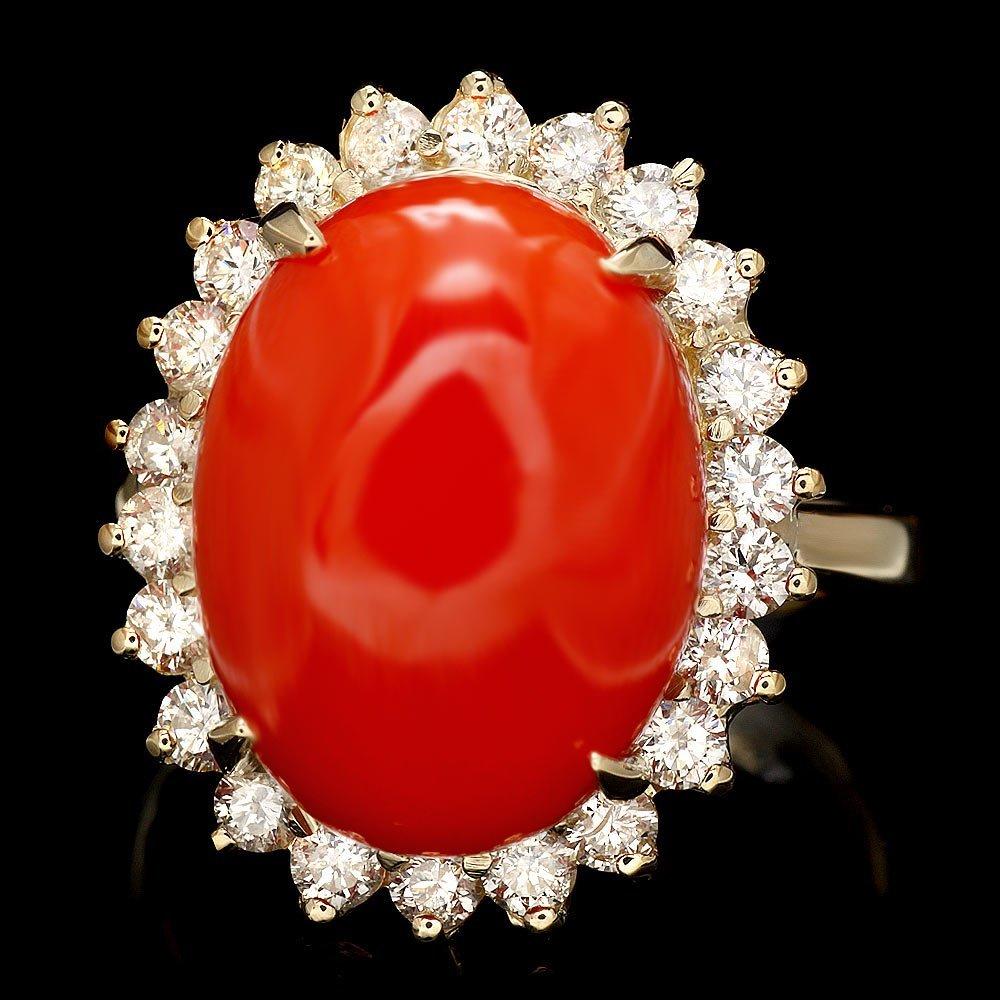 14k Yellow Gold 8.00ct Coral 1.00ct Diamond Ring
