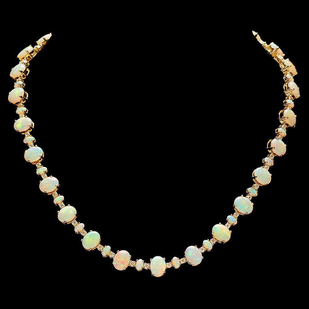 14k Yellow Gold 32ct Opal 2.25ct Diamond Necklace