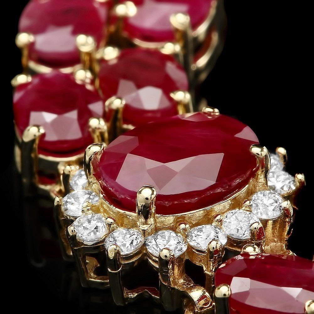 14k Gold 36.0ct Ruby 1.90ct Diamond Bracelet - 2