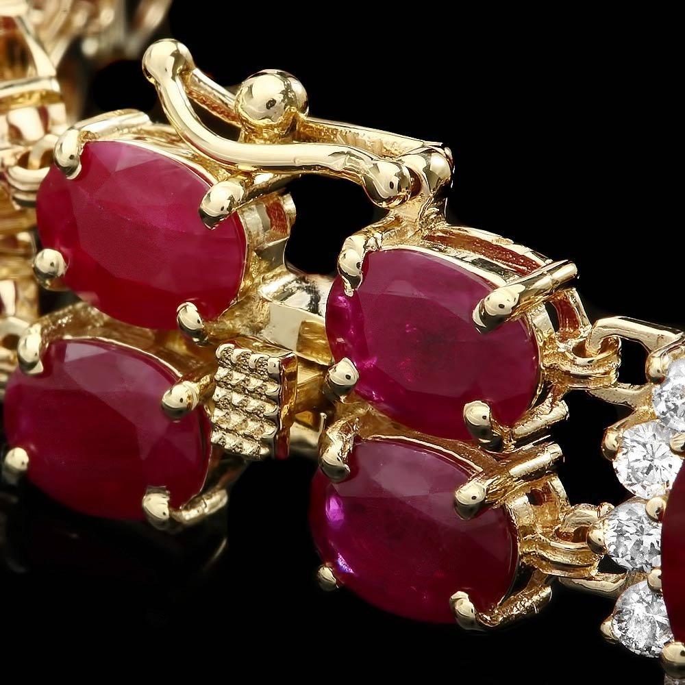 14k Gold 36.0ct Ruby 1.90ct Diamond Bracelet - 3