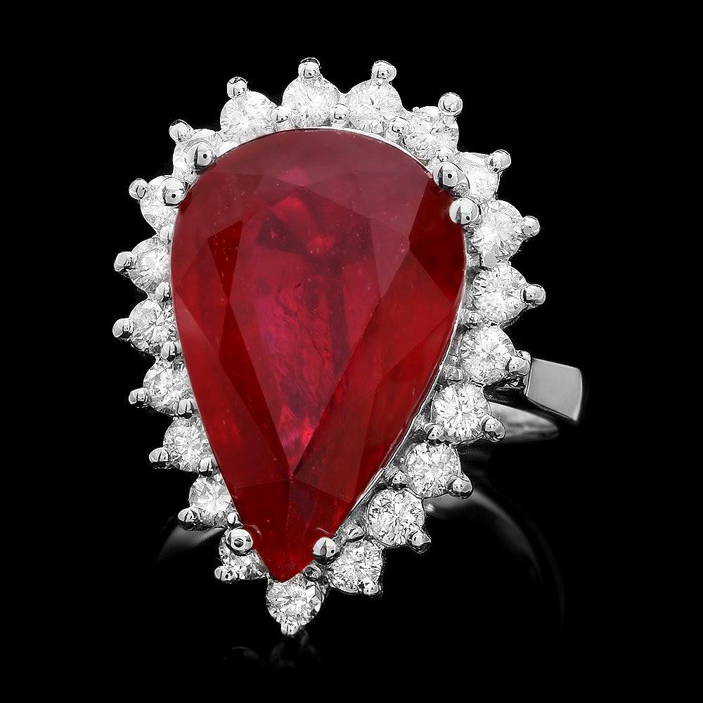 14k White Gold 13.00ct Ruby 1.10ct Diamond Ring