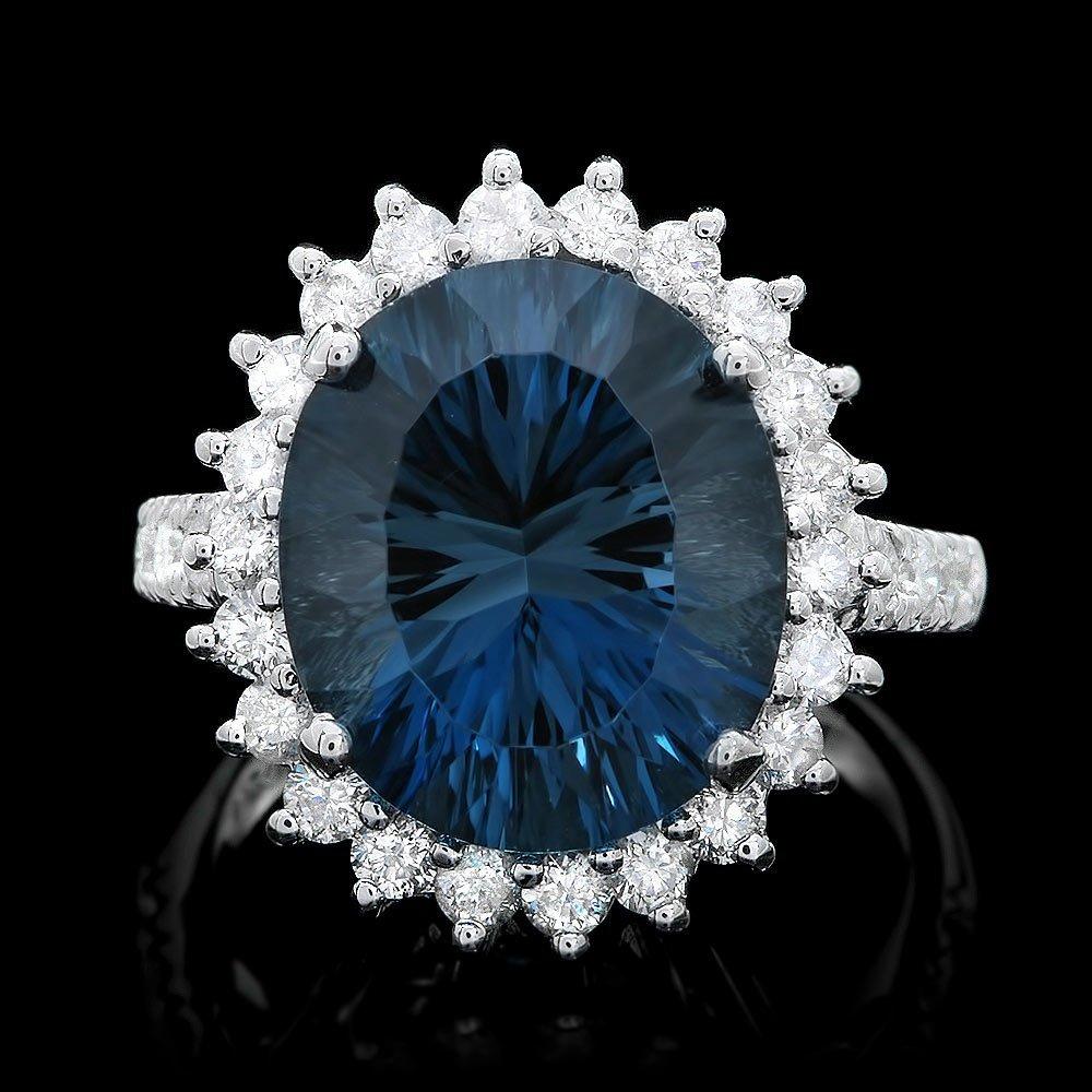 14k White Gold 9.00ct Topaz 1.15ct Diamond Ring