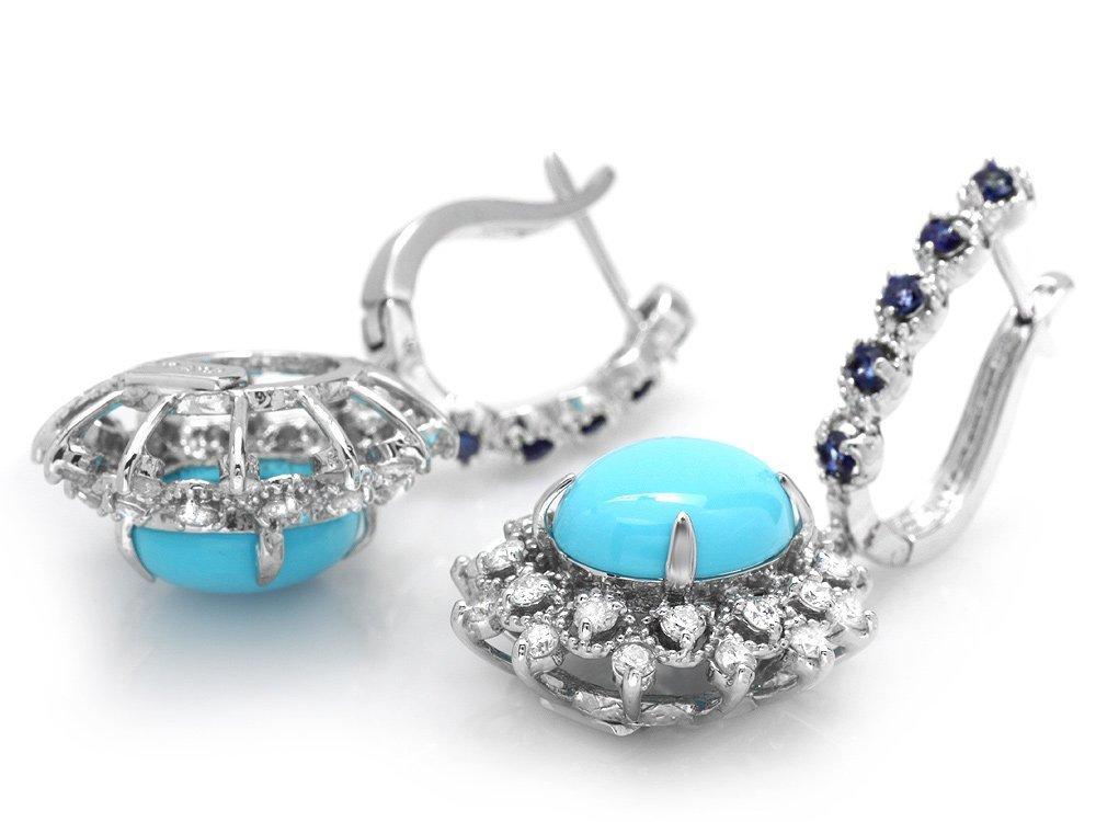 14k Gold 6ct Turquoise 1.10ct Diamond Earrings - 3