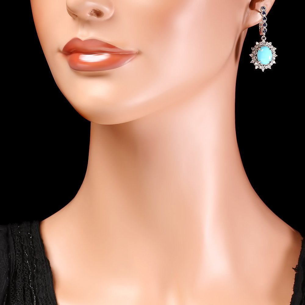 14k Gold 6ct Turquoise 1.10ct Diamond Earrings - 4