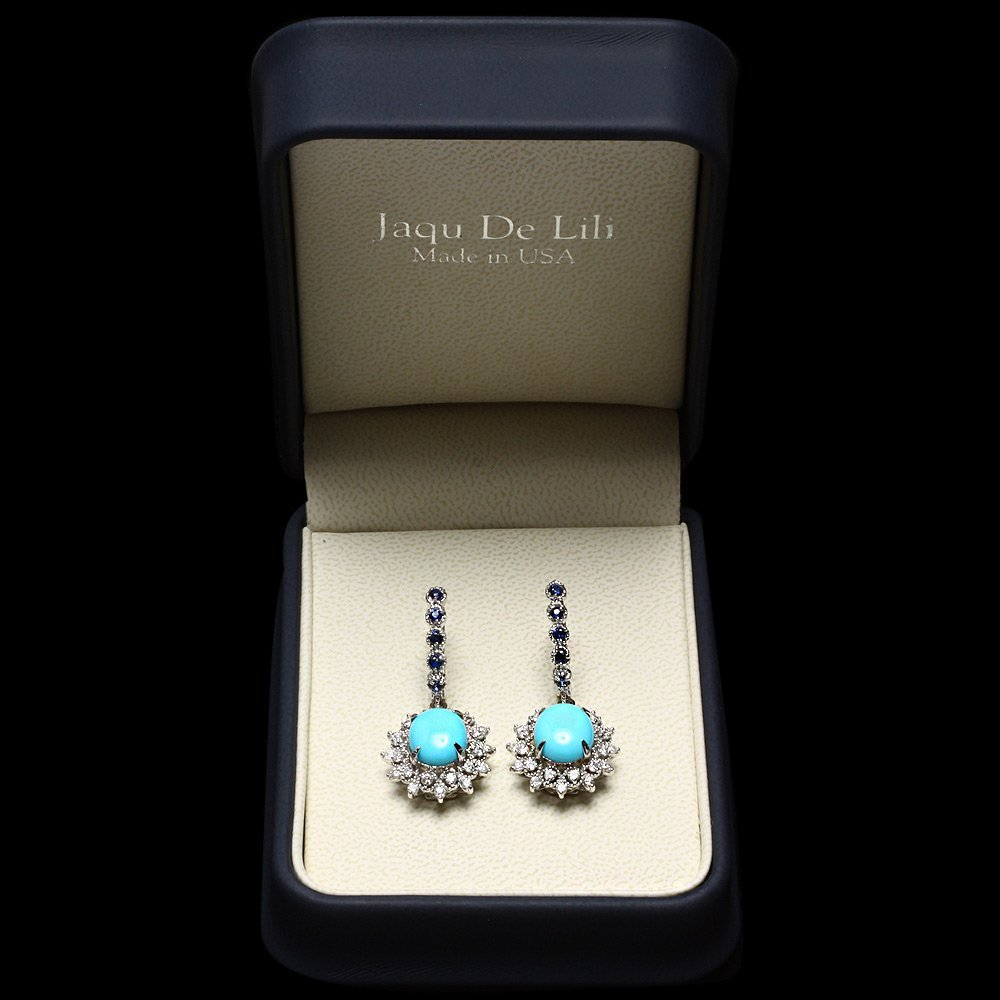 14k Gold 6ct Turquoise 1.10ct Diamond Earrings - 5