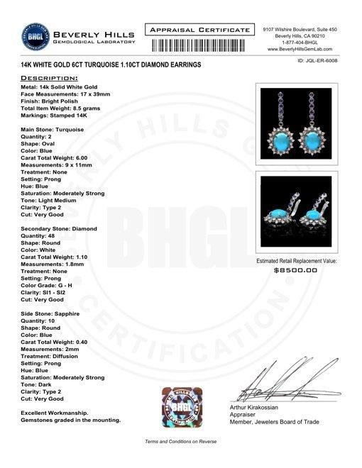14k Gold 6ct Turquoise 1.10ct Diamond Earrings - 6