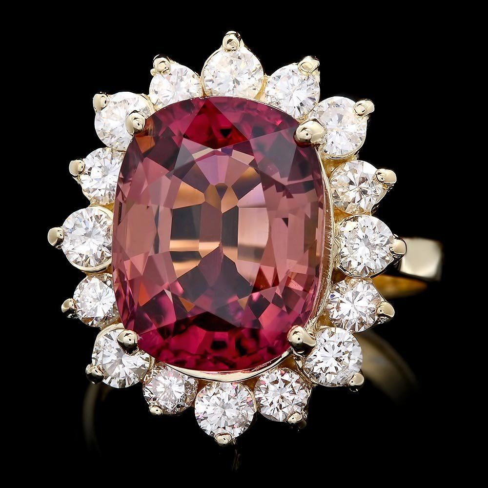 14k Gold 8ct Tourmaline 1.50ct Diamond Ring