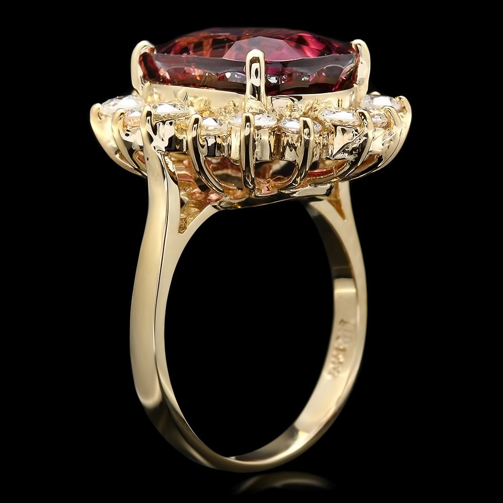 14k Gold 8ct Tourmaline 1.50ct Diamond Ring - 2