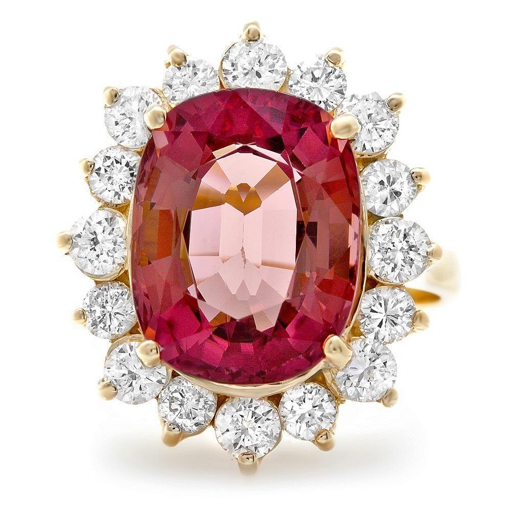 14k Gold 8ct Tourmaline 1.50ct Diamond Ring - 3