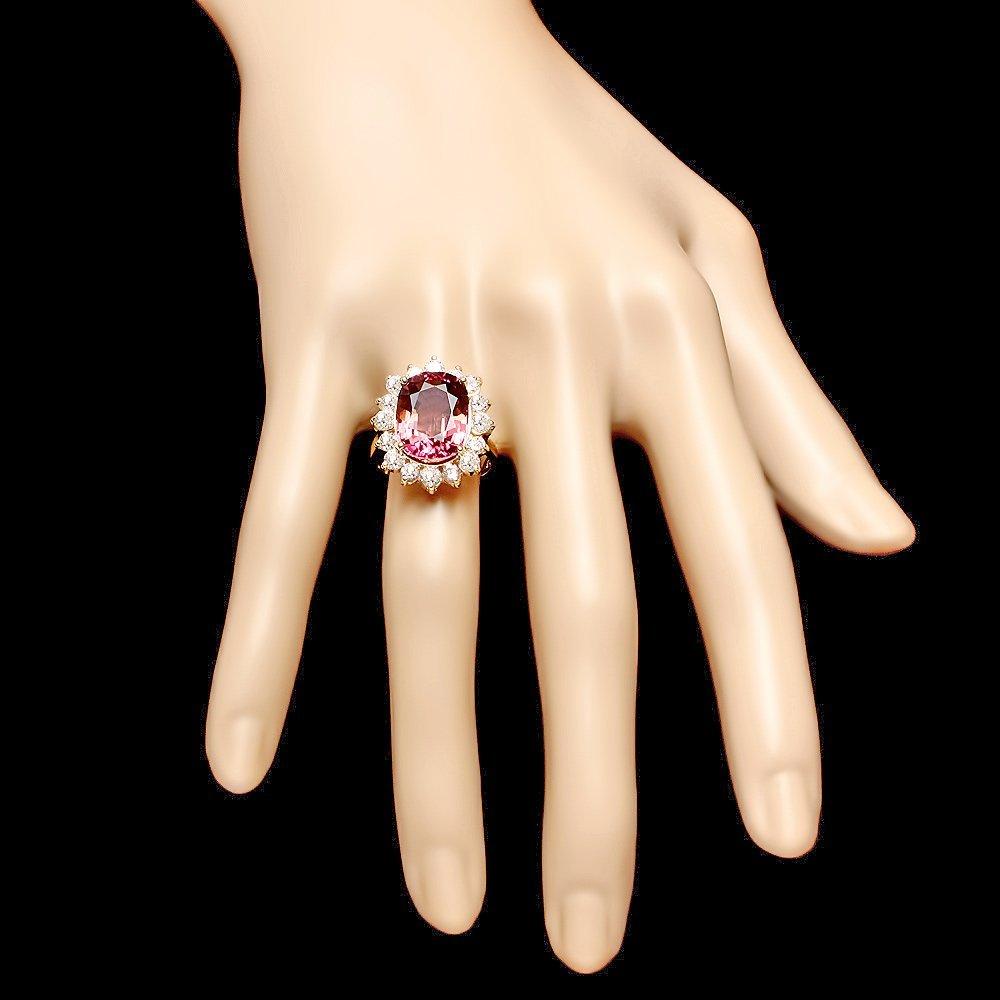 14k Gold 8ct Tourmaline 1.50ct Diamond Ring - 4