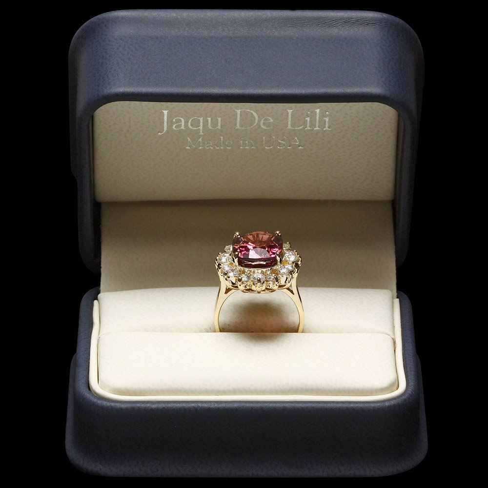 14k Gold 8ct Tourmaline 1.50ct Diamond Ring - 5