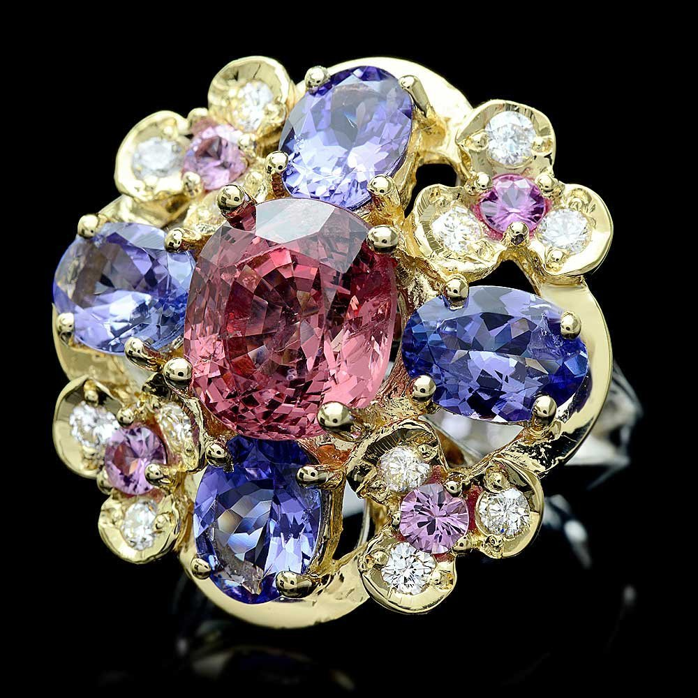 14k Gold 3.00ct Spinel 0.50ct Diamond Ring