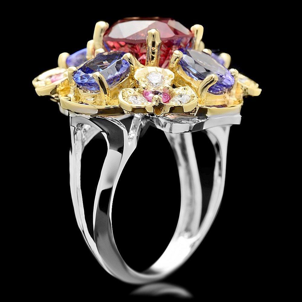 14k Gold 3.00ct Spinel 0.50ct Diamond Ring - 2