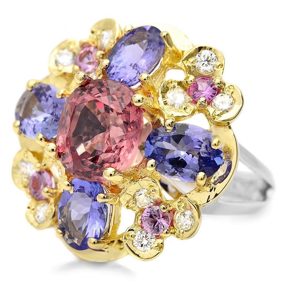 14k Gold 3.00ct Spinel 0.50ct Diamond Ring - 3