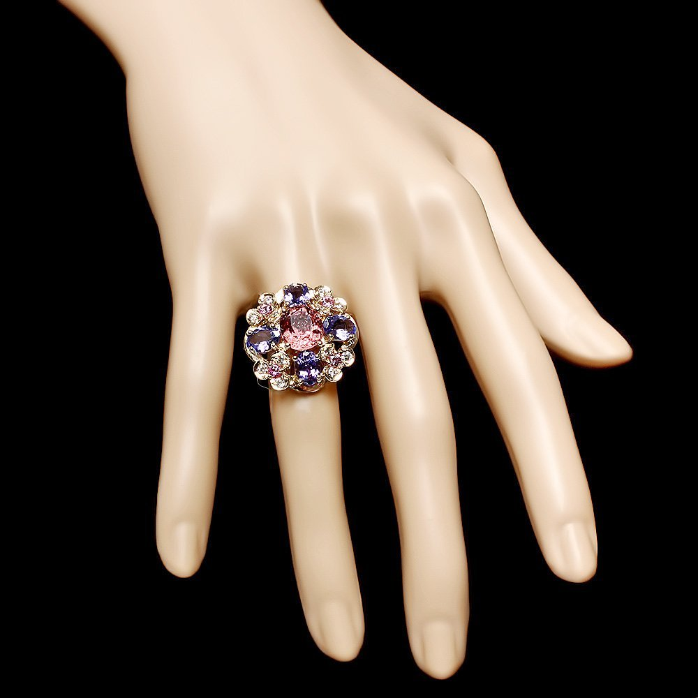 14k Gold 3.00ct Spinel 0.50ct Diamond Ring - 4