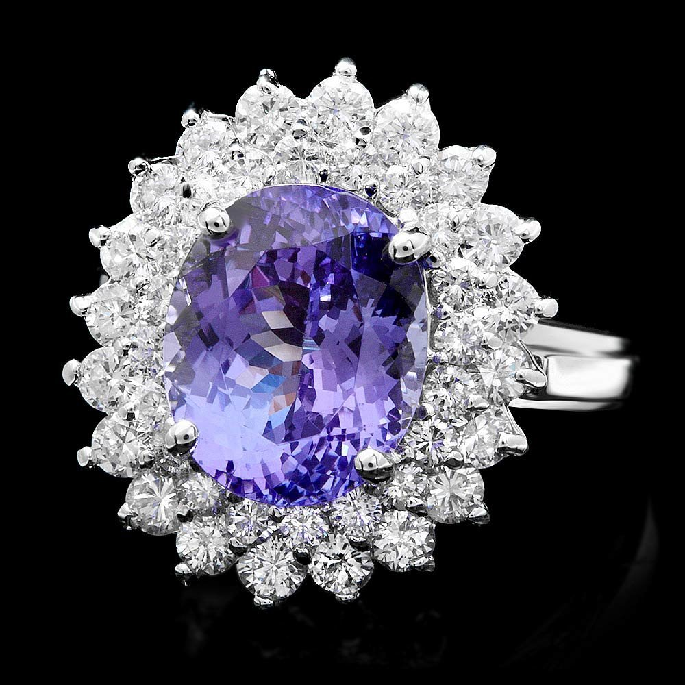 14k White Gold 5ct Tanzanite 1.50ct Diamond Ring