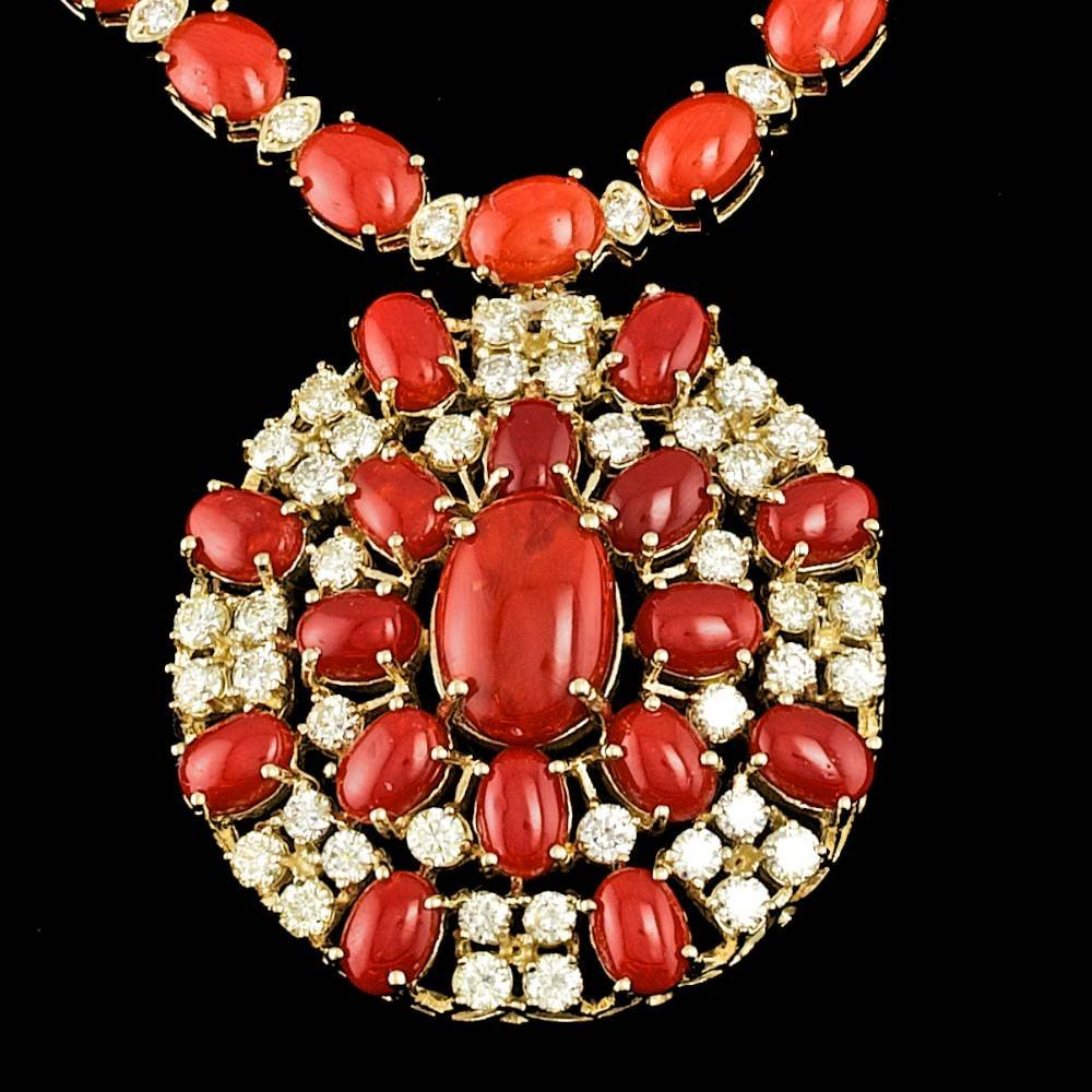 14k Gold 60ct Coral 6.35ct Diamond Necklace