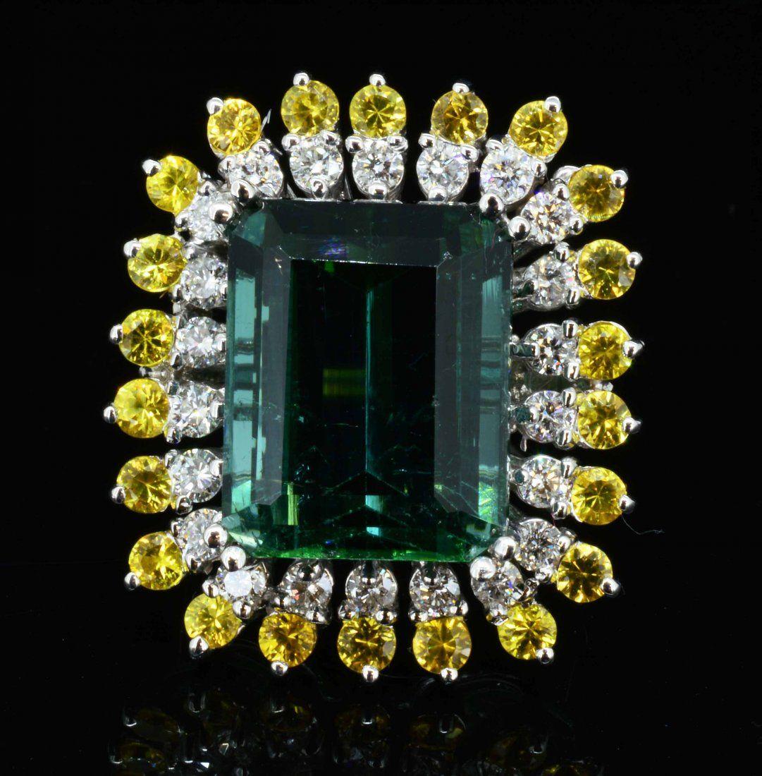 14K white gold, 15.37cts Tourmaline & 0.89cts diamond