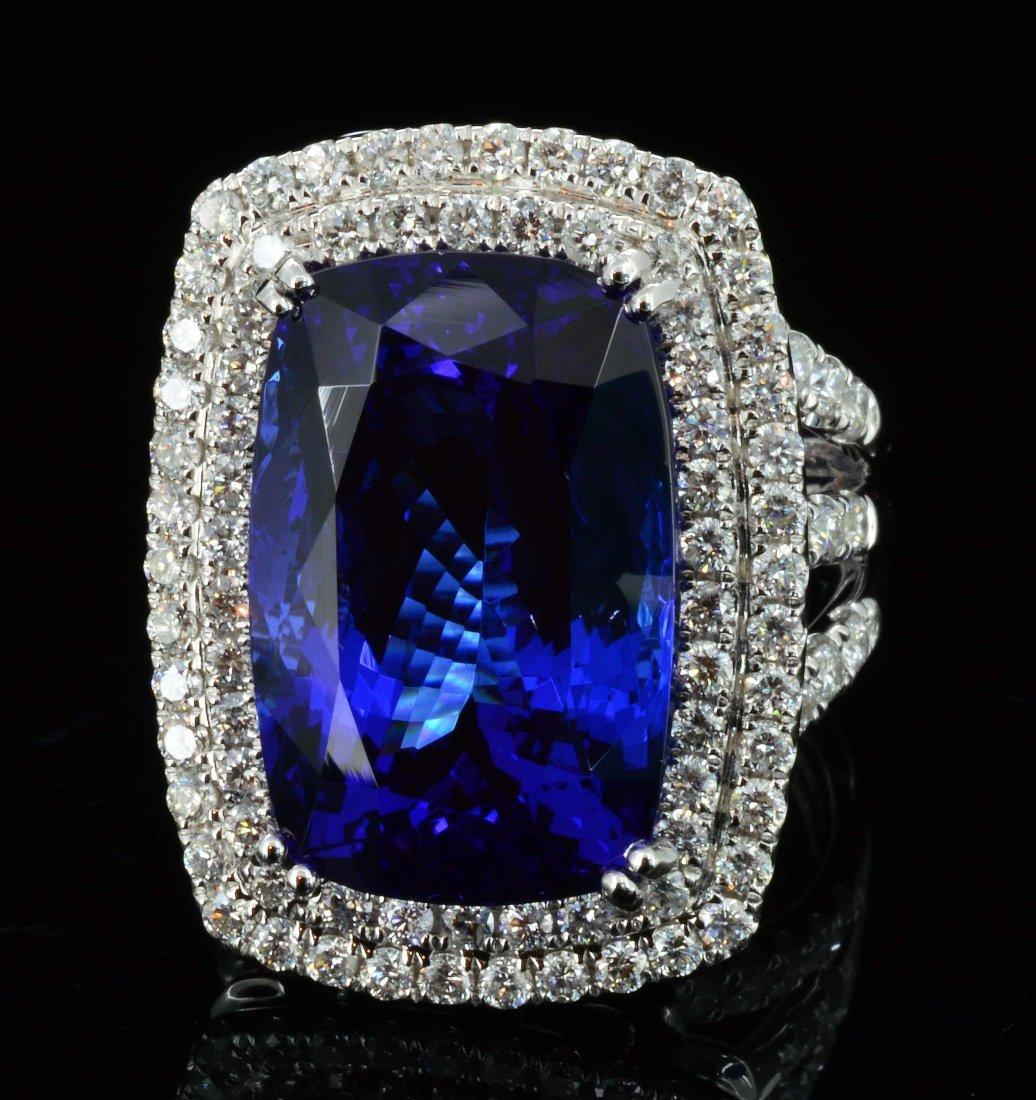 18K Gold, 17.35CT Tanzanite & 1.66CT Diamond Ring