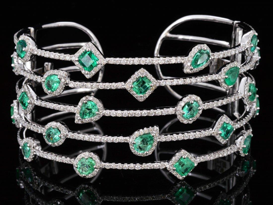 18K Gold, 4.96CT Emerald & 3.34CT Diamond Bangle