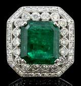 14K White Gold 909ct Emerald  197ct Diamond Ring