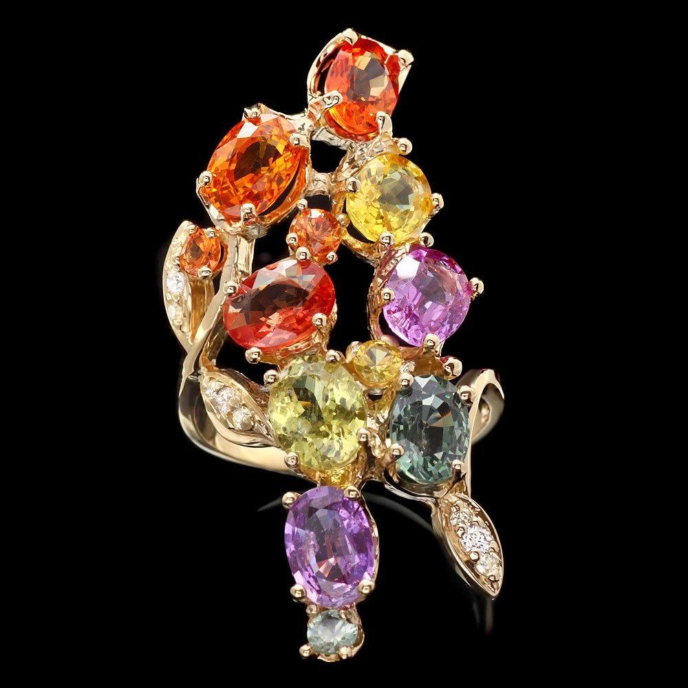 14k Yellow Gold 10ct Sapphire 0.20ct Diamond Ring