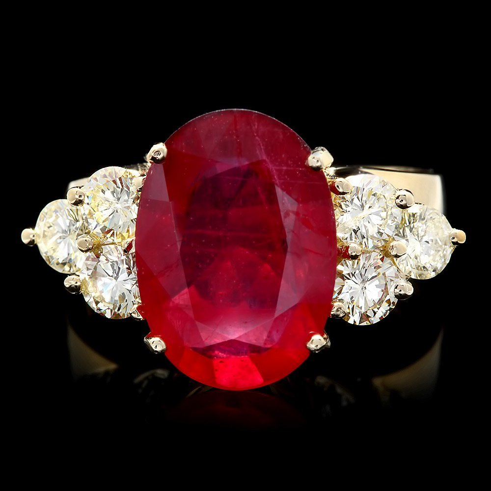 14k Yellow Gold 5.00ct Ruby 1.20ct Diamond Ring