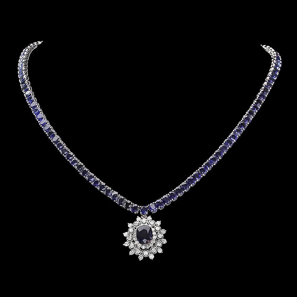 14k Gold 44ct Sapphire 1.70ct Diamond Necklace