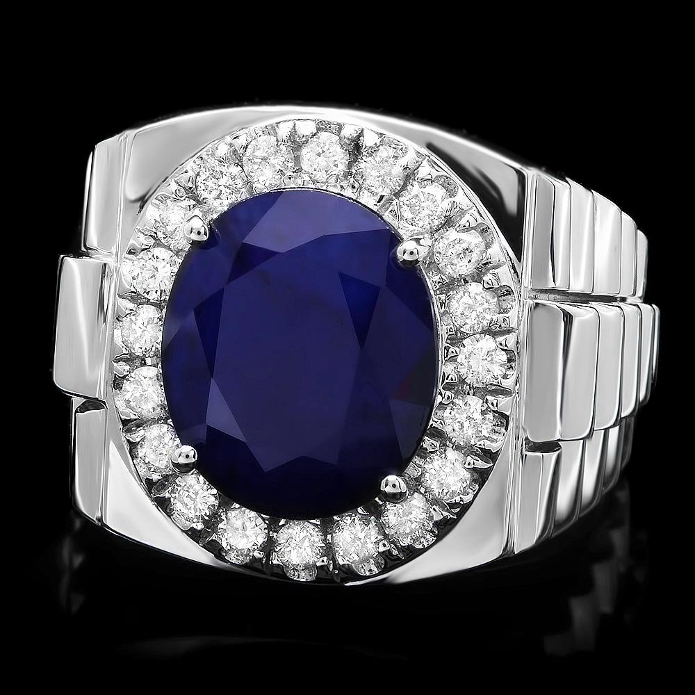 14k Gold 8.00ct Sapphire 0.70ct Diamond Mens Ring