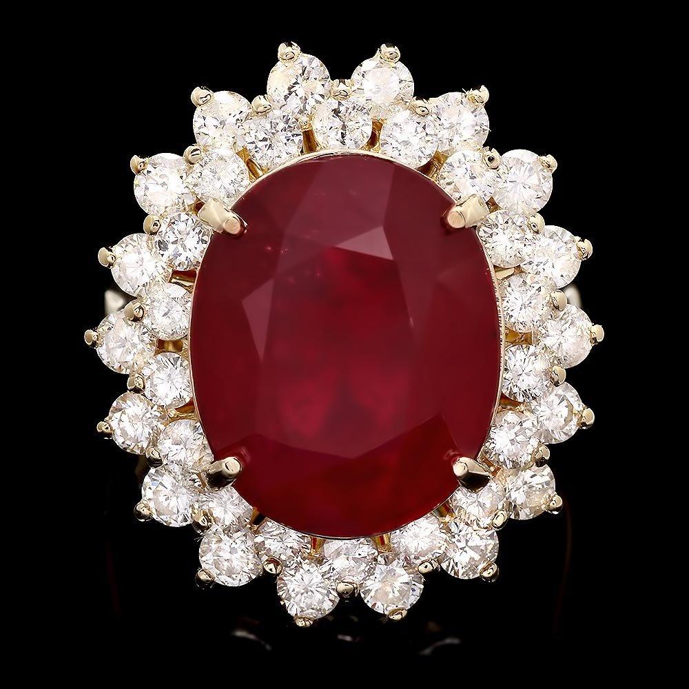 14k Yellow Gold 14.50ct Ruby 2.00ct Diamond Ring