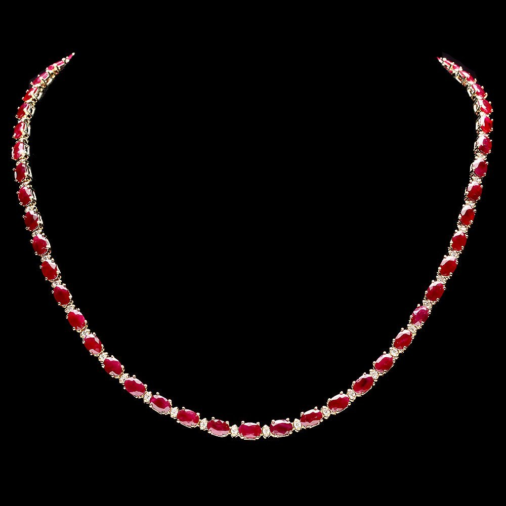 14k Gold 28.00ct Ruby 1.20ct Diamond Necklace