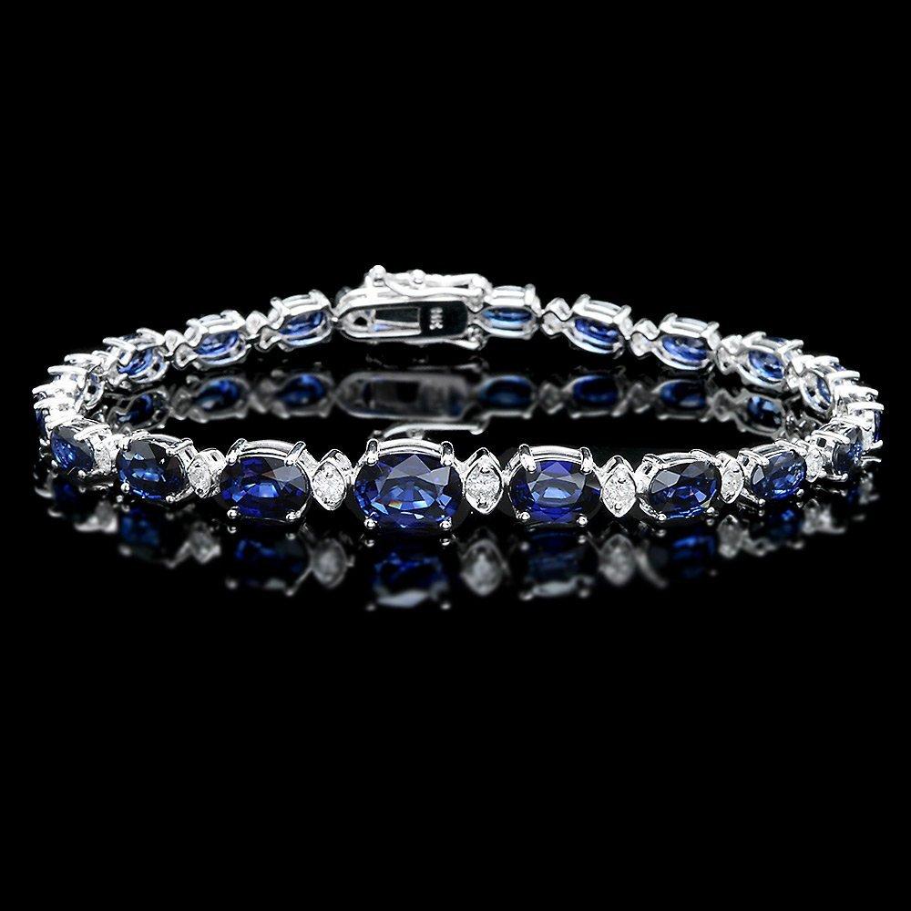 14k Gold 12.00ct Sapphire 0.80ct Diamond Bracelet