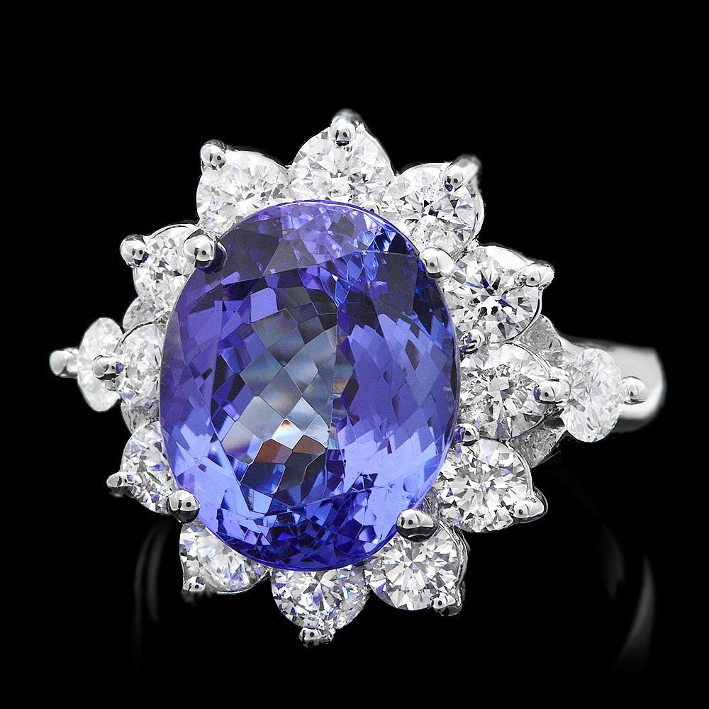 14k Gold 7.50ct Tanzanite 2.00ct Diamond Ring