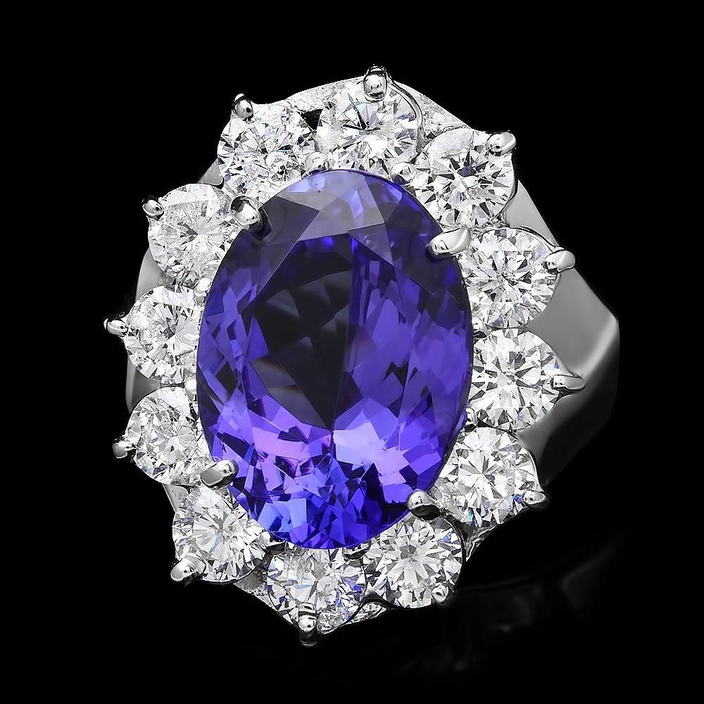 18k White Gold 5.20ct Tanzanite 2ct Diamond Ring