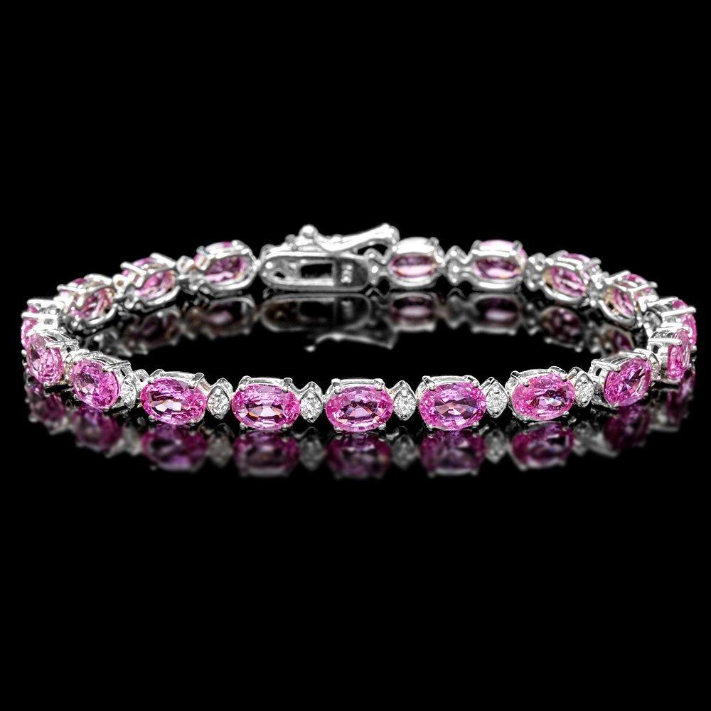 14k Gold 16ct Sapphire .70ct Diamond Bracelet